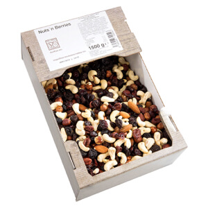 XXL kartónová krabica 1500 g cenovo výhodné balenie orechov a sušeného ovocia