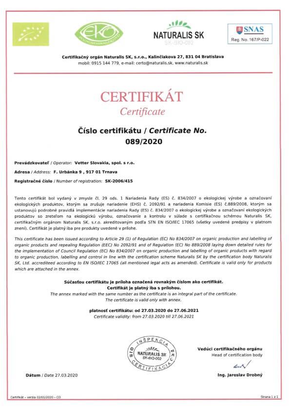 EKO BIO Zertifikat Vetter Slovakia   Fru'Tree
