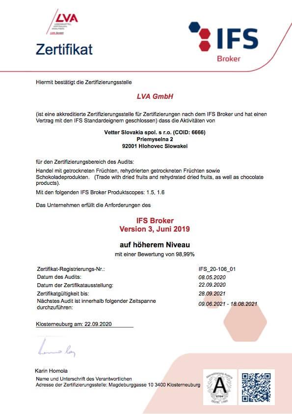 IFS Broker Zertifikat  Vetter Slovakia   FruTree