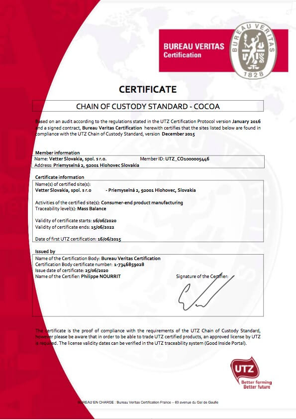 UTZ Certifikát Vetter Slovakia | FruTree