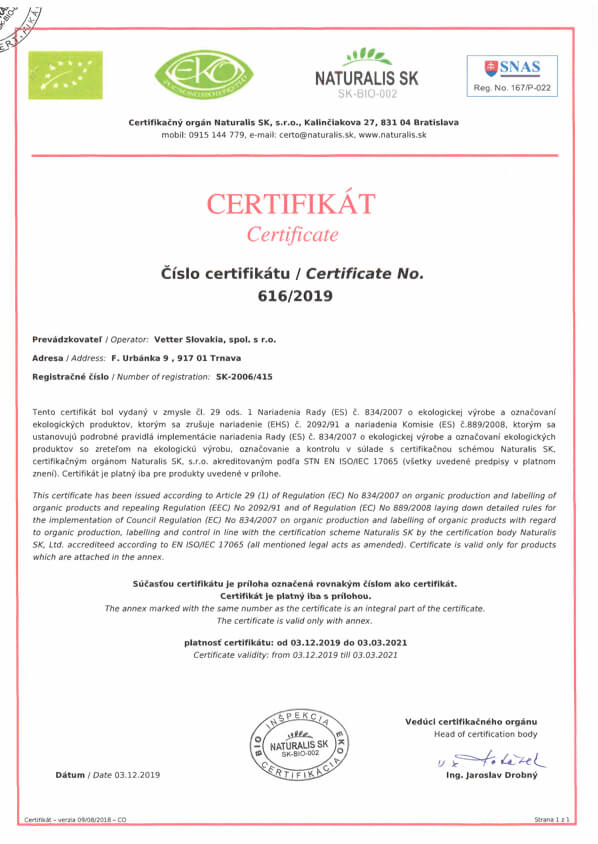 EKO BIO Zertifikat Vetter Slovakia | The Fresh Company | Fru'Tree